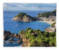 Tossa De Mar Sea Town On Costa Brava In Spain Fleece Blanket