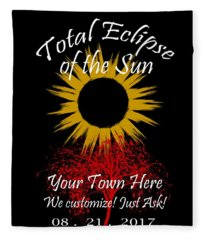 Total Eclipse Art For T Shirts Sun And Tree On Black Fleece Blanket