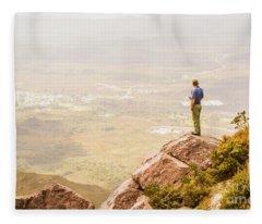 Tourist On The Tip Of Western Tasmania Fleece Blanket