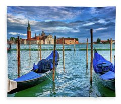 Gondolas And San Giorgio Di Maggiore In Venice, Italy Fleece Blanket