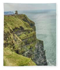 Tower At The Cliffs Of Moher Fleece Blanket