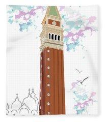 Tower Of Campanile In Venice Fleece Blanket