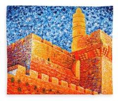 Tower Of David At Night Jerusalem Original Palette Knife Painting Fleece Blanket
