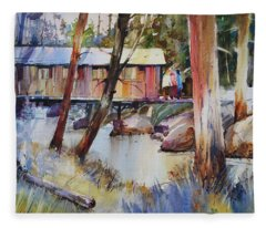 Covered Bridge Over Town Brook Fleece Blanket