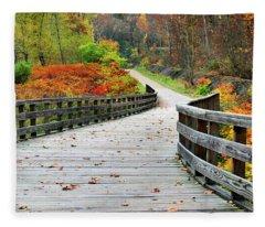 Towpath In Summit County Ohio Fleece Blanket