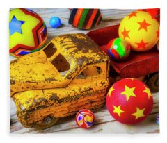 Toy Truck With Balls And Marbles Fleece Blanket