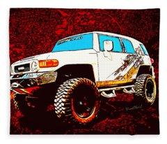 Toyota Fj Cruiser 4x4 Cartoon Panel From Vivachas Fleece Blanket