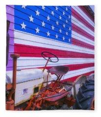 Tractor And Large Flag Fleece Blanket
