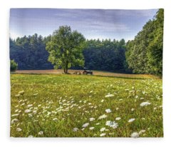 Tractor In Field With Flowers Fleece Blanket