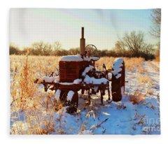 Bard Road  Il Tractor In Snow   Fleece Blanket