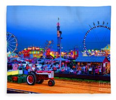 Tractor Pull At The County Fair Fleece Blanket