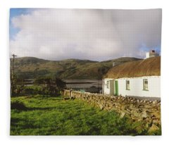 Traditional Cottage, Near Lough Rus Fleece Blanket