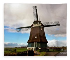 Traditional Dutch Windmill Near Volendam  Fleece Blanket