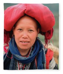 Traditional Fashion Of A Red Dzao Woman Fleece Blanket