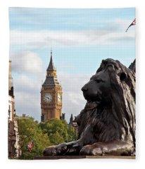 Trafalgar Square Lion With Big Ben Fleece Blanket