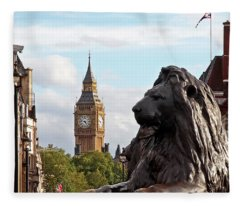 Trafalgar Square Lion With Big Ben Fleece Blanket