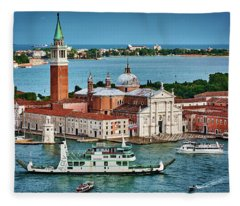 Traffic Around The Venetian Church Fleece Blanket