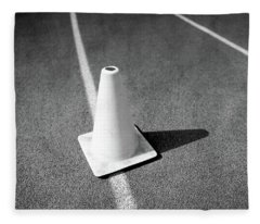 Traffic Cone On Runners Track Lanes In Bw Fleece Blanket