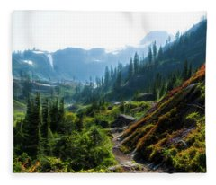 Trail In Mountains Fleece Blanket