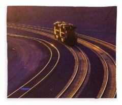 Train At Sunset Fleece Blanket