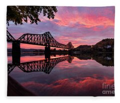 Train Bridge At Sunrise  Fleece Blanket