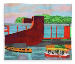 Train Over The New River Fleece Blanket