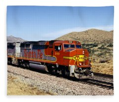 Train On A Railroad Track, Santa Fe Fleece Blanket