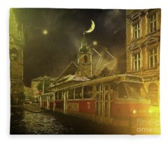 Tramatic - Prague Street Scene Fleece Blanket