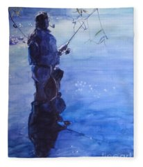 Watercolor Tranquil Fishing Fleece Blanket