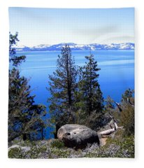 Tranquil Lake Tahoe Fleece Blanket