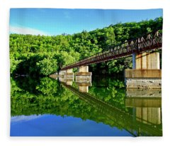 Tranquility At The James River Footbridge Fleece Blanket
