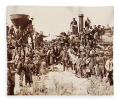 Transcontinental Railroad - Golden Spike Ceremony Fleece Blanket