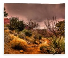 Traveling The Trail At Red Rocks Canyon Fleece Blanket