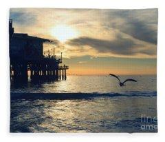 Seagull Pier Sunrise Seascape C1 Fleece Blanket