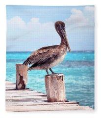 Treasure Coast Pelican Pier Seascape C1 Fleece Blanket