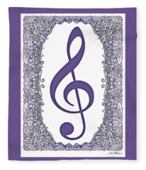Treble Clef With Purple Border Fleece Blanket