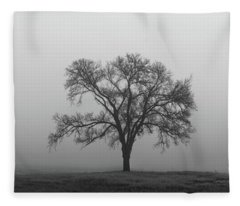 Fleece Blanket featuring the photograph Tree Alone In The Fog by Todd Aaron