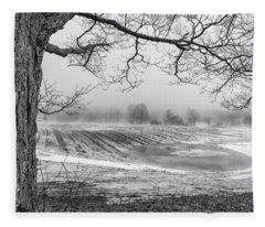 Tree And Fog Fleece Blanket