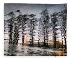 Tree And Reflection Fleece Blanket