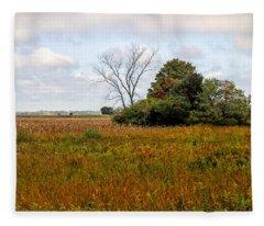 Fleece Blanket featuring the photograph Tree At Plum Island by Nancy De Flon