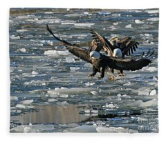 Tree Eagles On Ice Fleece Blanket
