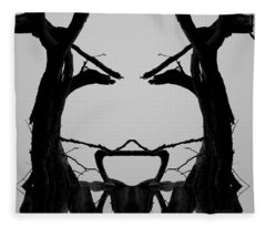 Tree Face I Bw Sq Fleece Blanket