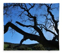 Tree In Rural Hills - Silhouette View Fleece Blanket
