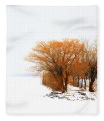 Tree In The Winter Fleece Blanket