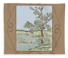 Tree Mirror In Lake Fleece Blanket