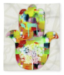 Tree Of Life Hamsa- Art By Linda Woods Fleece Blanket