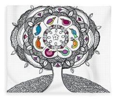 Tree Of Life - Ink Drawing Fleece Blanket