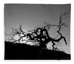 Tree Of Light Silhouette Hillside - Black And White  Fleece Blanket