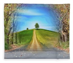 Tree On The Hill Montage Fleece Blanket