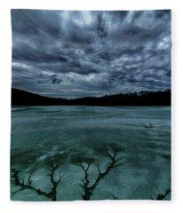 Tree Pattern In Thawing Ice Fleece Blanket